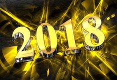 New Year 2018 in glass with yellow caustics Stock Photos