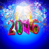 New year. Glasses of glass and colored numbers with celebration Stock Image