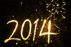 New year 2014. Glitter 2014 number alphabet with golden ribbons Royalty Free Stock Photography