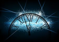 New Year Glittering Background with a Silhouetted Clock Face stock illustration
