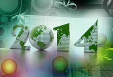 New year 2014 globe on colour background Stock Photography