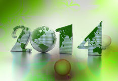 New year 2014 globe on colour background Stock Image