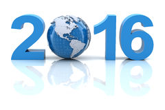 New year 2016 with globe. 3d render Royalty Free Stock Photos