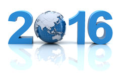New year 2016 with globe. 3d render vector illustration