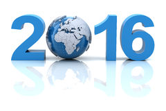 New year 2016 with globe. 3d render Stock Photos