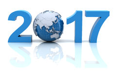 New year 2017 with globe royalty free stock photo