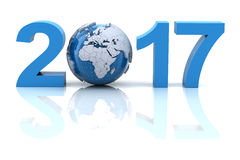 New year 2017 with globe stock image