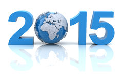 New year 2015 with globe, 3d render Stock Images