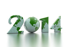 New year 2014 globe. On white background Stock Photography