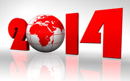 New year 2014 globe. On white background. clipping path included Stock Image
