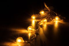 New year glowing garland royalty free stock photo
