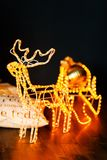 New Year glowing reindeer with sleigh royalty free stock images