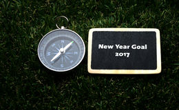 New Year Goal 2017 handwriting on label Stock Images