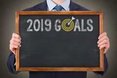 New Year 2019 Goals on Blackboard. New year concepts stock photo