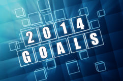 New year 2014 goals in blue glass blocks Stock Photo