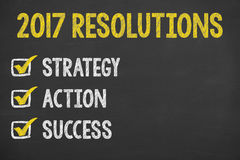 New Year Goals on Chalkboard Background Stock Image