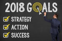 New Year 2018 Goals on Chalkboard Stock Photography