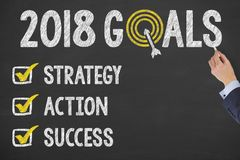 New Year 2018 Goals Check List on Chalkboard Royalty Free Stock Photos