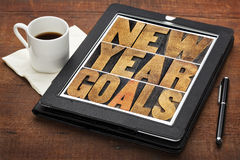 New Year goals on digital tablet Stock Photo