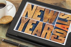 New Year goals on digital tablet Royalty Free Stock Photos