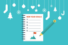 New year goals. Illustration of new year goals list, flat design concept with icons elements Stock Images