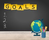 New Year Goals List With Globe and Stationery. New Year Goals List On Blackboard With Globe and Stationery stock illustration