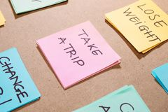 New year goals or resolutions - colorful sticky notes on a Notepad stock image