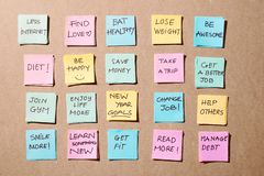 New year goals or resolutions - colorful sticky notes on a Notepad with coffee Cup royalty free stock image