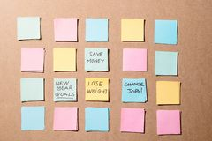 New year goals or resolutions - colorful sticky notes on a Notepad with coffee Cup royalty free stock photo
