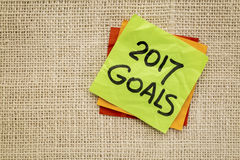 2017 New Year goals on sticky note Stock Photos