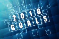 New year 2018 goals in blue glass blocks. New year 2018 goals - text in 3d blue glass boxes with white figures, business holiday concept stock illustration