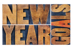 New Year goals in wood type Stock Images