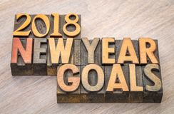 2018 New Year goals word abstract in wood type Royalty Free Stock Photography
