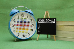 2018 New Year goals. Written on a small blackboard Stock Images