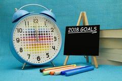 2018 New Year goals. Written on a small blackboard Stock Photos