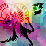 2015 New year of the Goat colorful background. 2015 New Year of the Goat Chinese calligraphy over colorful abstract background. EPS10 vector file organized in stock illustration