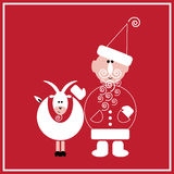 New Year of the Goat. Illustration of Santa Claus with the goat on the red background Royalty Free Stock Photo