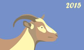 New year goat 2015. Illustration with New Year 2015 symbol of a goat Stock Photography