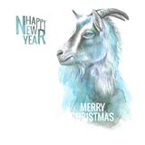 New year goat. New year painting goat with horns, hand-drawing, the new year simbol. Vector illustration Stock Photography