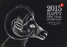 New year of the Goat 2015 vintage blackboard. Chinese New Year of the Goat 2015 blackboard, vintage and retro style and hand drawn sheep head composition. EPS10 Royalty Free Stock Photos