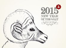 New year of the Goat 2015 vintage card. Chinese New Year of the Goat 2015, vintage retro style and hand drawn sheep head composition. EPS10 vector file organized stock illustration