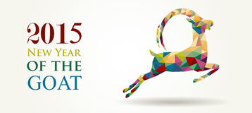 New Year of the Goat 2015 website banner. Chinese New Year of the Goat 2015 unusual triangle illustration. Ideal for web banner and greeting card template Royalty Free Stock Photos