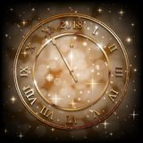 New Year 2018 gold background with bronze old clock. Greetings New Year banner with sepia background. Vector. New Year 2018 gold background with bronze old clock vector illustration
