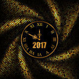 2017 New Year gold background with clock. Vector illustration Royalty Free Stock Images