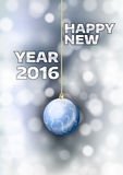 New Year 2016. With gold ball. Vector greeting card Stock Photo