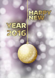 New Year 2016. With gold ball. Vector greeting card royalty free illustration