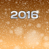 New Year 2016. With gold ball. Vector greeting card stock illustration