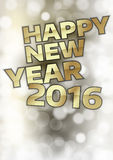 New Year 2016. With gold ball. Vector greeting card Stock Images