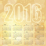 2016 New Year Gold Calendar. 2016 New Year gentle Gold Calendar, vector eps 10 Stock Image