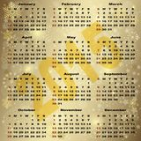 2015 New Year Gold Calendar. (vector eps 10 Stock Photography